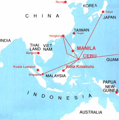 Map of south east asia direct air routes to manilacebu gumiabroncs Image collections
